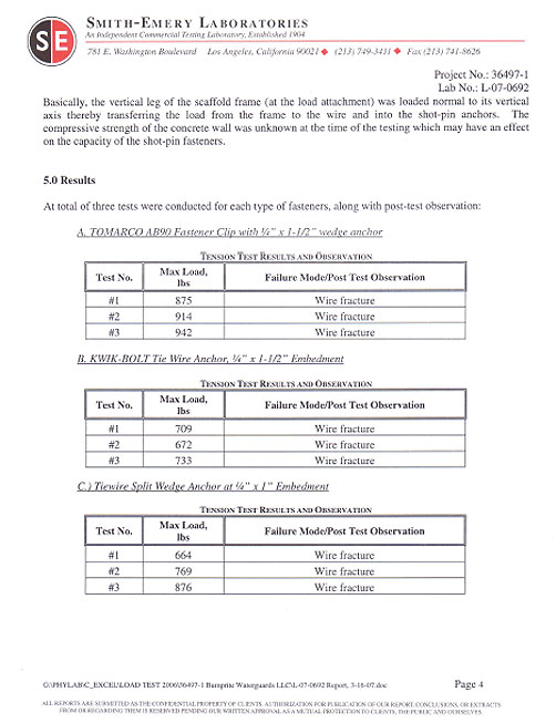 Page four of peak load testing report of traditional wire ties compiled by Smith-Emery Laboratories
