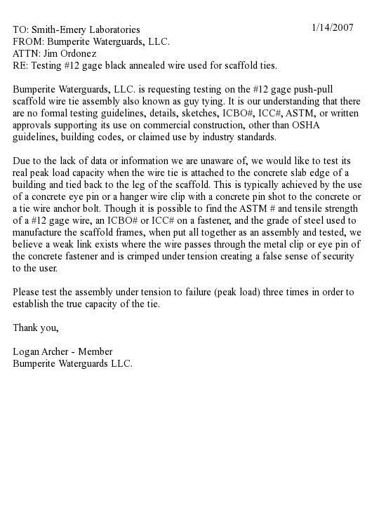 Letter to Smith-Emery Laboratories requesting peak load testing of traditional wire ties.