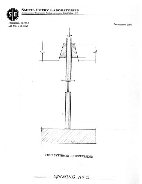 Page nine of peak load testing report compiled by Smith-Emery Laboratories