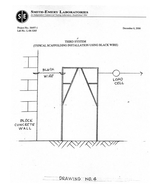 Page eleven of peak load testing report compiled by Smith-Emery Laboratories